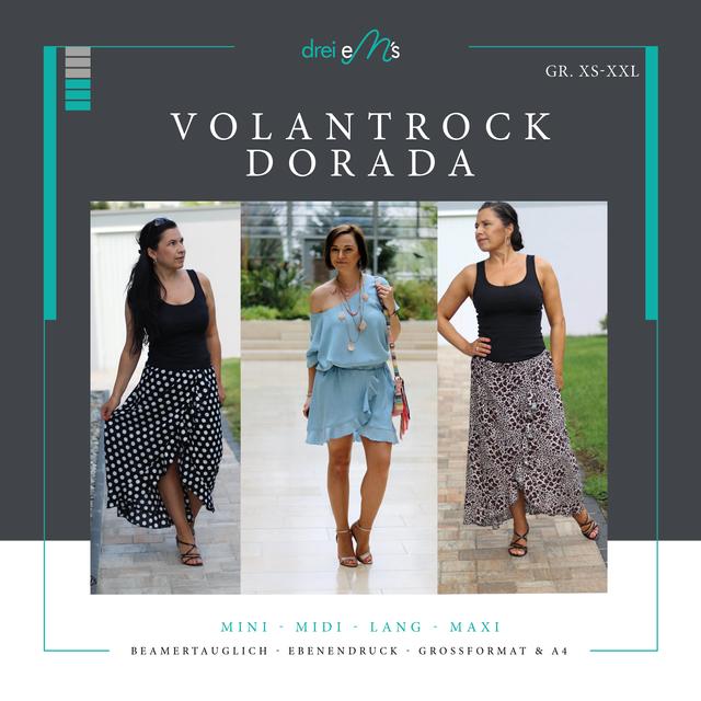 Produktfoto von drei eMs zum Nähen für Schnittmuster Volant-Rock Dorada