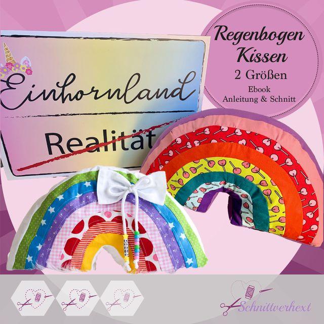Produktfoto von Schnittverhext zum Nähen für Schnittmuster Regenbogenkissen