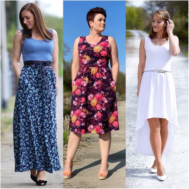 Produktfoto von drei eMs zum Nähen für Schnittmuster Kleid Scilla