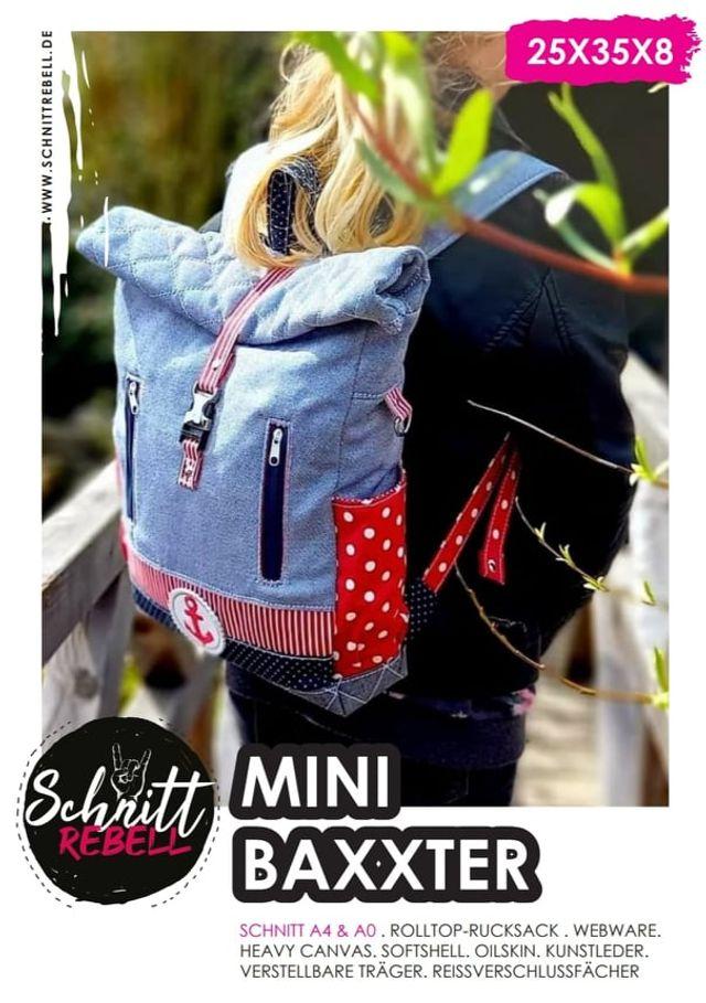 Produktfoto von Schnittrebell zum Nähen für Schnittmuster Rolltop-Rucksack Mini-Baxxter