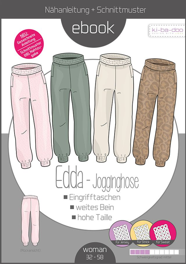 Produktfoto von ki-ba-doo zum Nähen für Schnittmuster Jogginghose Edda