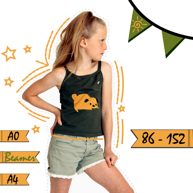Produktfoto von Anni Nanni zum Nähen für Schnittmuster AnniNanni Sonnentanz Spaghettiträger Top