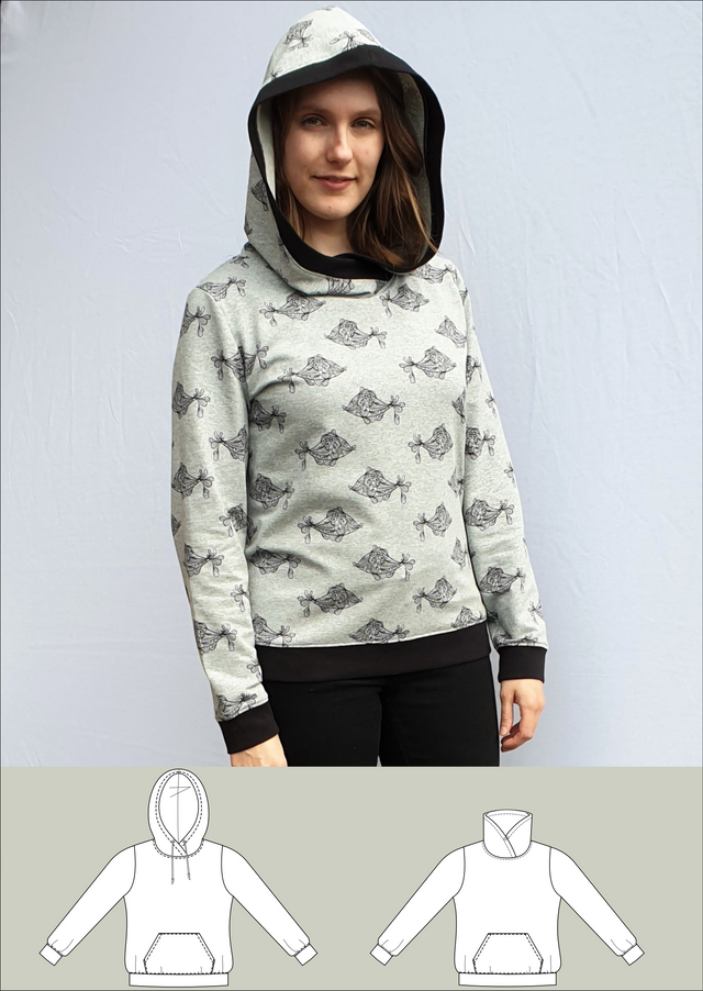 Produktfoto von Schneidermeer zum Nähen für Schnittmuster Hoodie Lisa