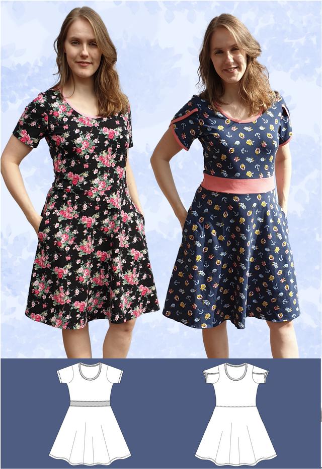 Produktfoto von Schneidermeer zum Nähen für Schnittmuster Jerseykleid Isa