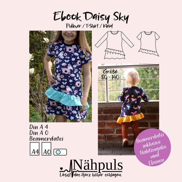 Produktfoto von Nähpuls zum Nähen für Schnittmuster Daisy Sky - Pullover/T-Shirt/Kleid