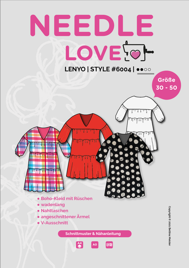 Produktfoto von {NEEDLE LOVE} zum Nähen für Schnittmuster Bohokleid LENYOdress