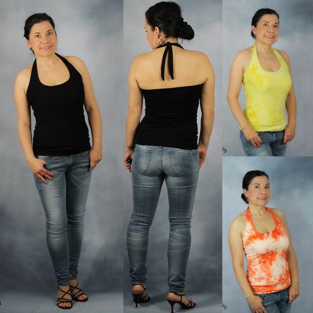 Produktfoto von drei eMs zum Nähen für Schnittmuster Neckholder Tropea