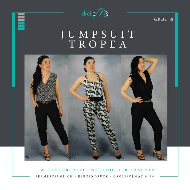 Produktfoto von drei eMs zum Nähen für Schnittmuster Jumpsuit Tropea