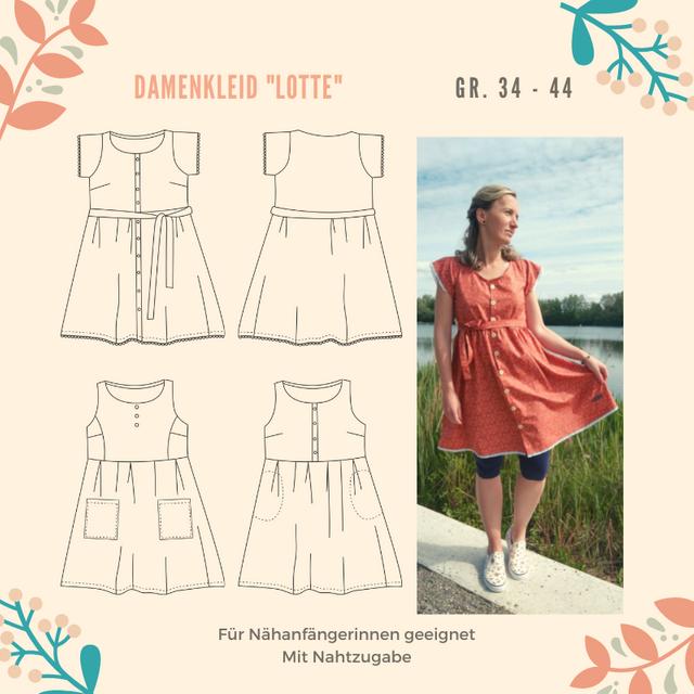 Produktfoto von Henriette Herzblut zum Nähen für Schnittmuster Damenkleid Lotte