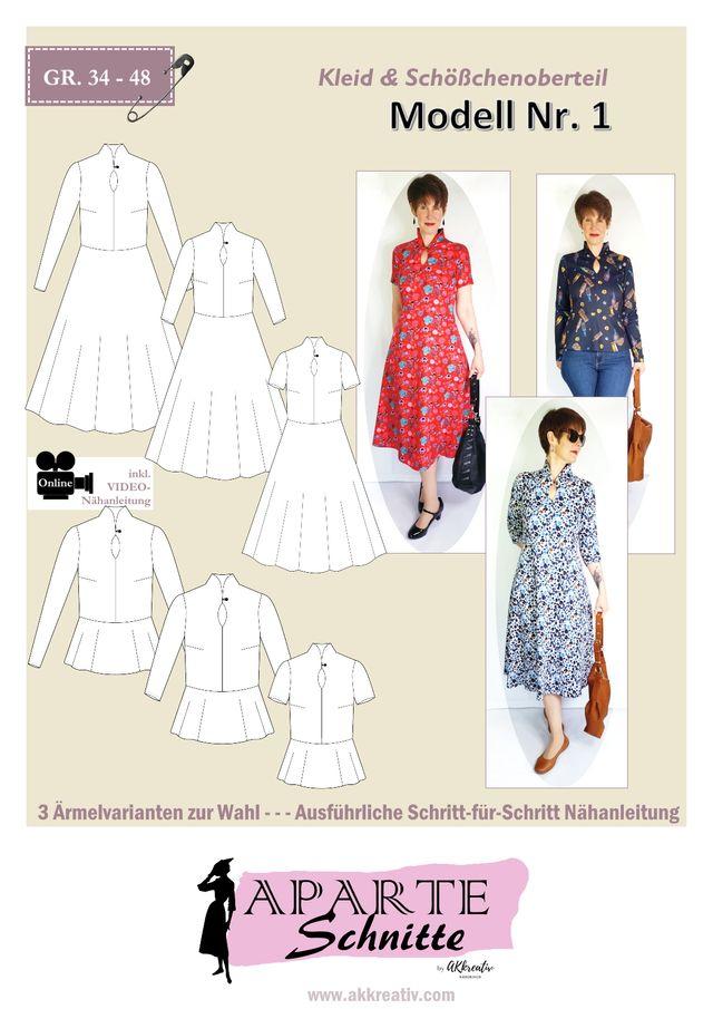 Produktfoto von AKkreativ zum Nähen für Schnittmuster Kleid/Oberteil MODELL NR. 1