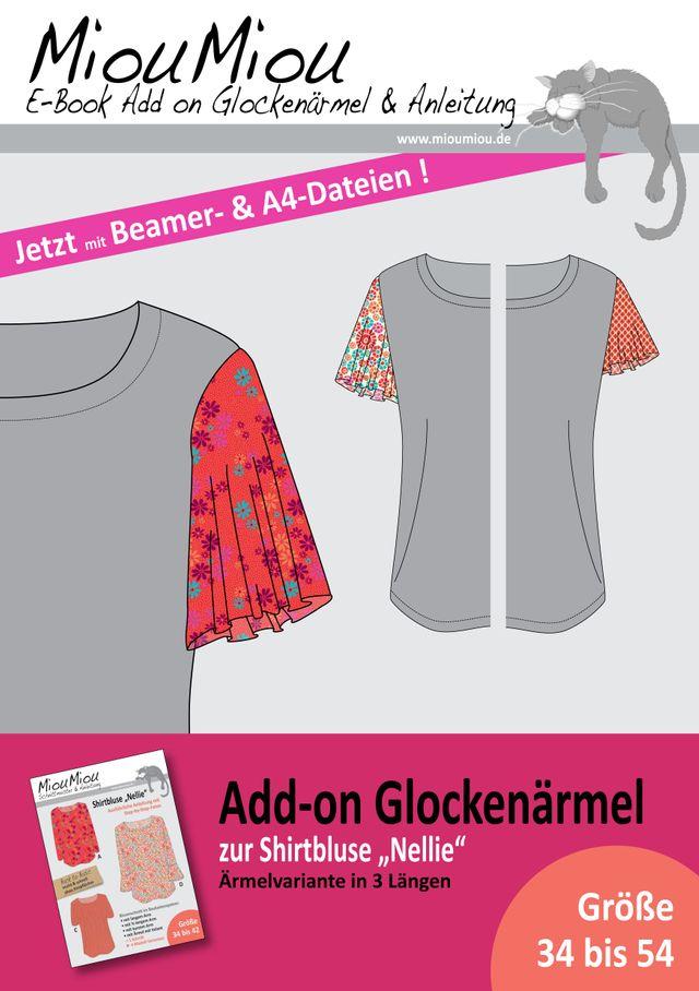 Produktfoto von Miou Miou zum Nähen für Schnittmuster Add-on Glockenärmel zu  Shirtbluse Nellie