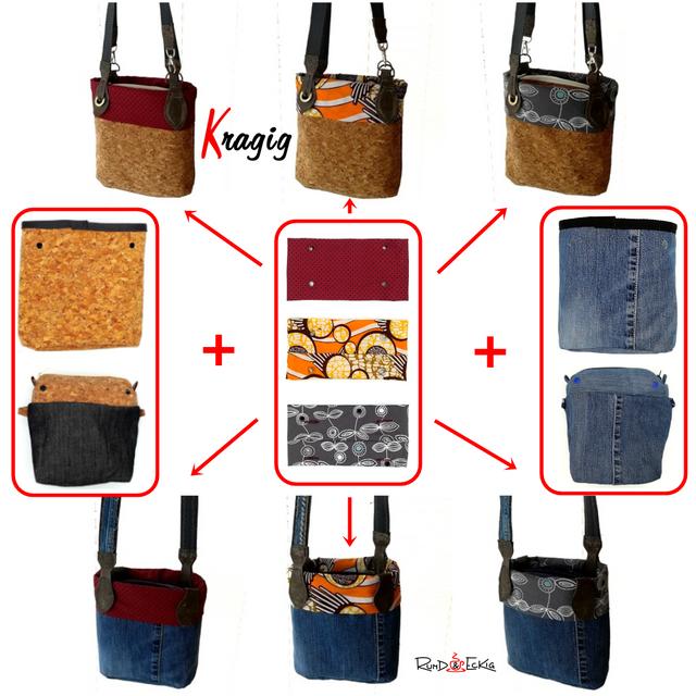 Produktfoto von RUND und ECKIG zum Nähen für Schnittmuster Handtasche Kragig