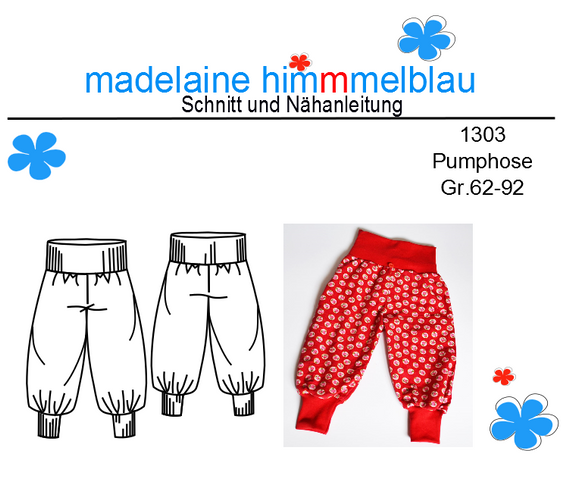 Produktfoto von madelaine himmmelblau zum Nähen für Schnittmuster 1303 Pumphose