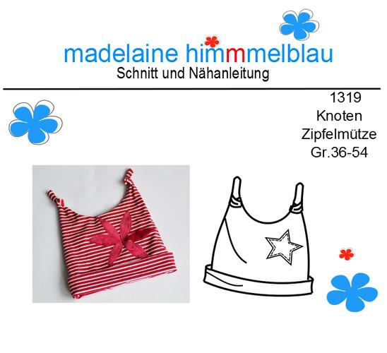 Produktfoto von madelaine himmmelblau zum Nähen für Schnittmuster 1319 Knoten-Zipfelmütze