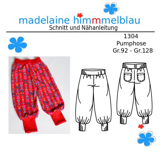 Produktfoto von madelaine himmmelblau zum Nähen für Schnittmuster 1304 Pumphose