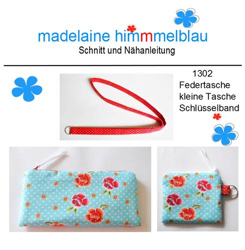 Produktfoto von madelaine himmmelblau zum Nähen für Schnittmuster 1302 Federtasche, kleine Tasche, Schlüsselband
