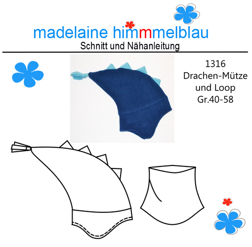 Produktfoto von madelaine himmmelblau zum Nähen für Schnittmuster 1316 Drachenmütze und Loop