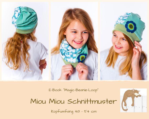 Produktfoto von Miou Miou zum Nähen für Schnittmuster Magic-Beanie-Loop