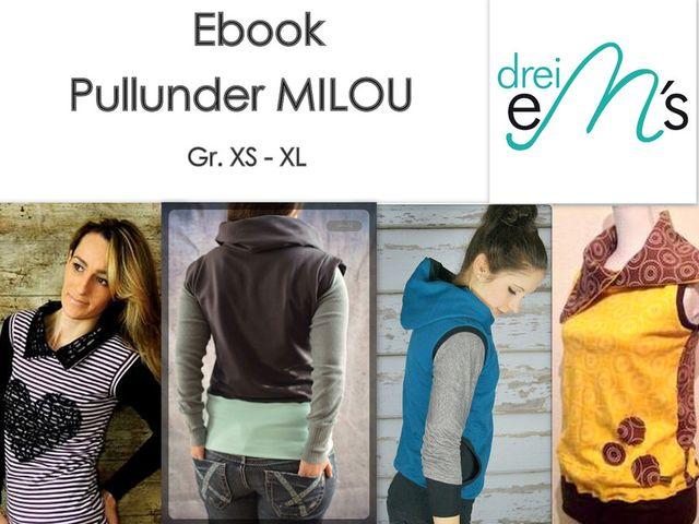 Produktfoto von drei eMs zum Nähen für Schnittmuster Pullunder Milou