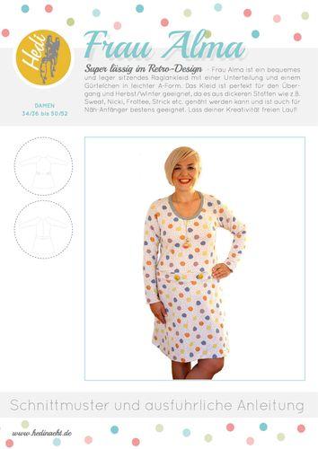Produktfoto von Hedi zum Nähen für Schnittmuster Raglankleid Frau Alma