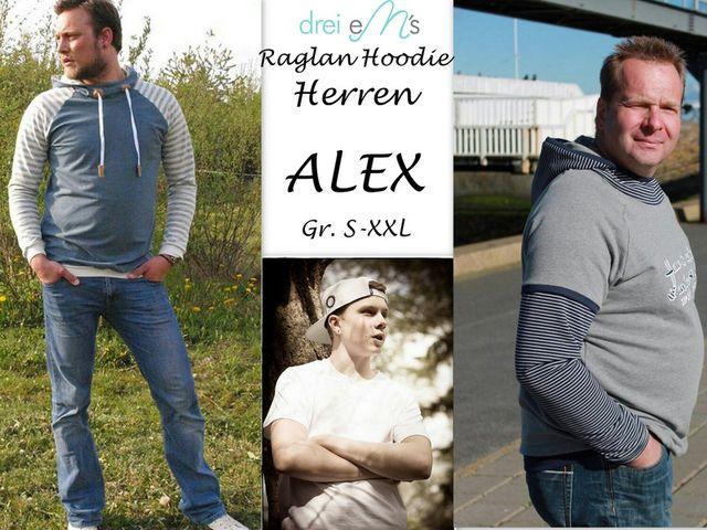 Produktfoto von drei eMs zum Nähen für Schnittmuster Raglan Hoodie Alex Herren
