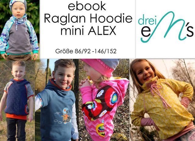 Produktfoto von drei eMs zum Nähen für Schnittmuster Raglan Hoodie mini Alex