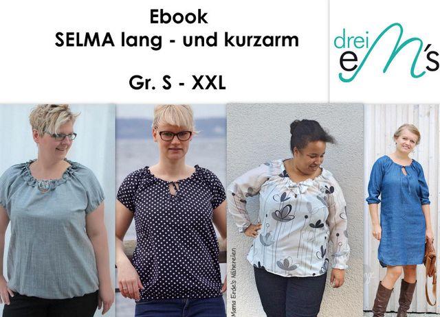 Produktfoto von drei eMs zum Nähen für Schnittmuster Bluse Selma
