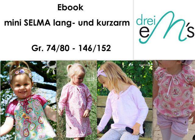 Produktfoto von drei eMs zum Nähen für Schnittmuster Bluse Mini Selma