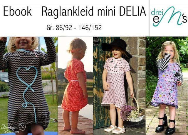 Produktfoto von drei eMs zum Nähen für Schnittmuster Raglankleid mini Delia