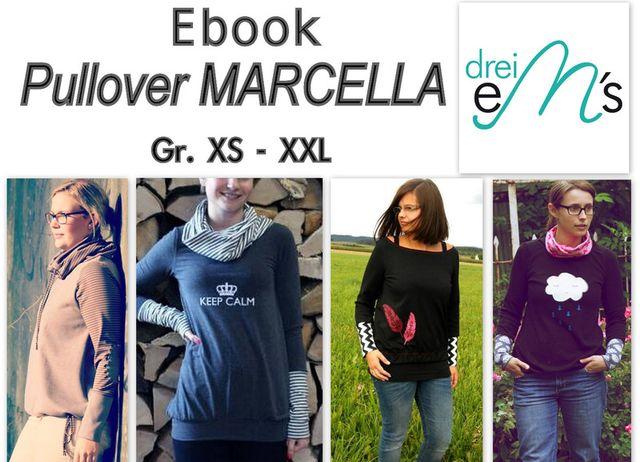 Produktfoto von drei eMs zum Nähen für Schnittmuster Pullover Marcella