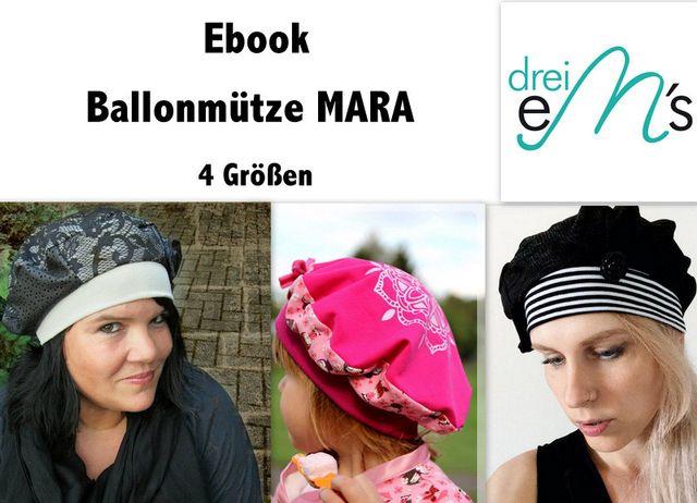 Produktfoto von drei eMs zum Nähen für Schnittmuster Ballonmütze Mara