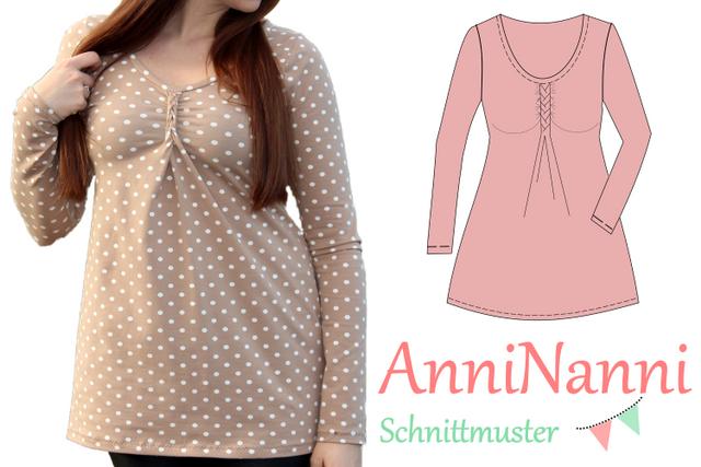 Produktfoto von Anni Nanni zum Nähen für Schnittmuster AnniNanni Flechtshirt