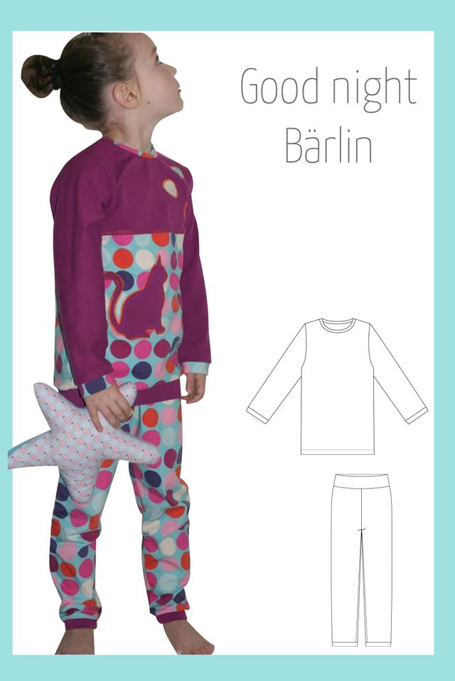 Produktfoto von Berlinerie zum Nähen für Schnittmuster Schlafanzug Good night Bärlin