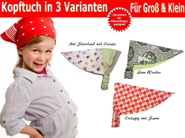 Produktfoto von Trash Monstarz zum Nähen für Schnittmuster Kopftuch in 3 Varianten