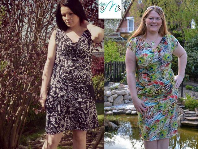 Produktfoto von drei eMs zum Nähen für Schnittmuster Wasserfallkleid/Shirt Clary