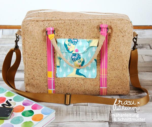 Produktfoto von Frau Scheiner zum Nähen für Schnittmuster Notebooktasche