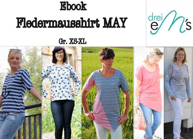 Produktfoto von drei eMs zum Nähen für Schnittmuster Fledermausshirt May