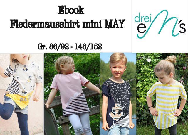 Produktfoto von drei eMs zum Nähen für Schnittmuster Fledermausshirt mini May