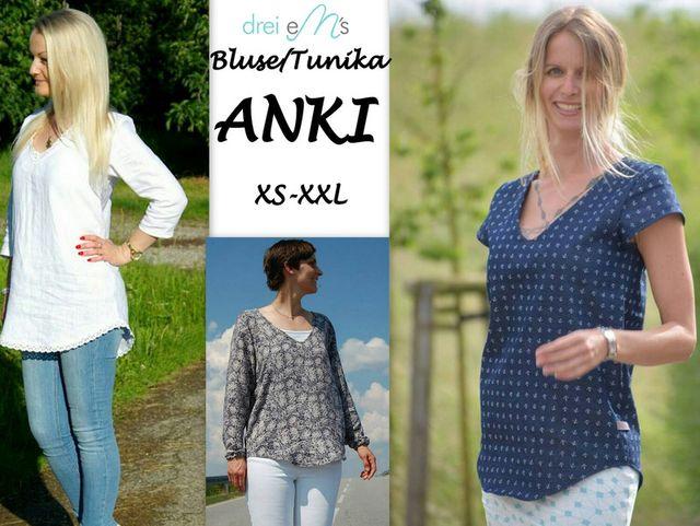 Produktfoto von drei eMs zum Nähen für Schnittmuster Bluse/Tunika Anki