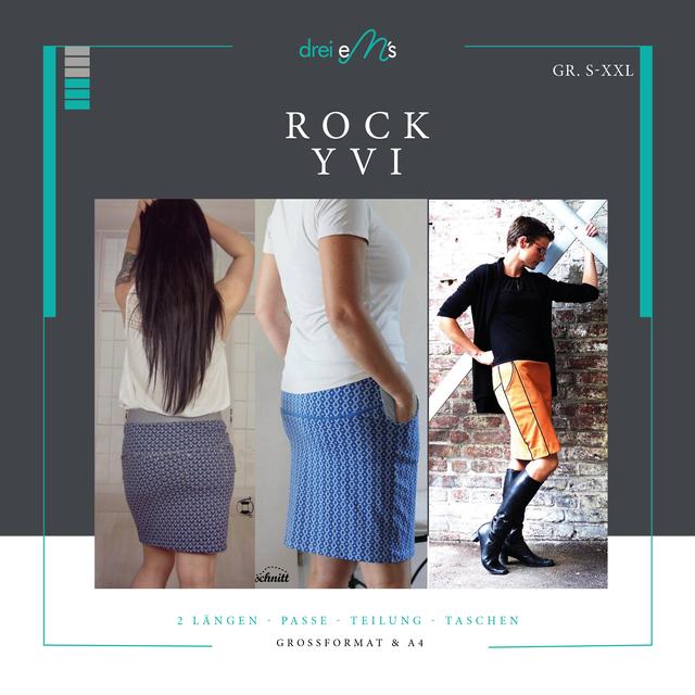 Produktfoto von drei eMs zum Nähen für Schnittmuster Rock Yvi