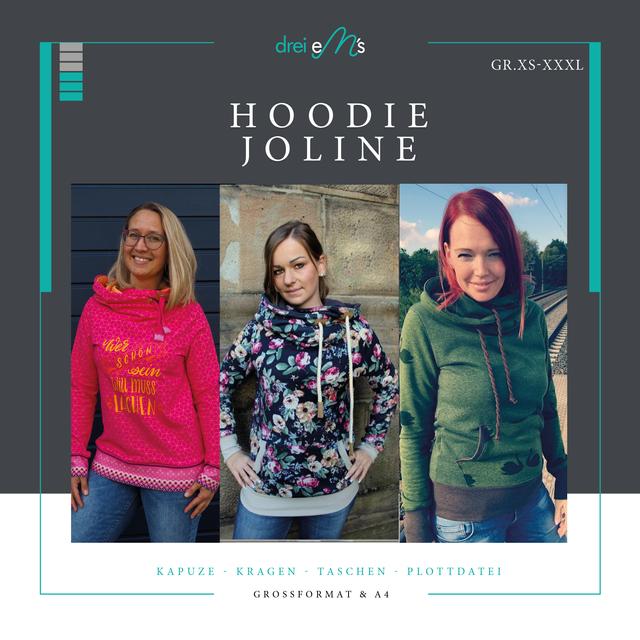 Produktfoto von drei eMs zum Nähen für Schnittmuster Hoodie Joline