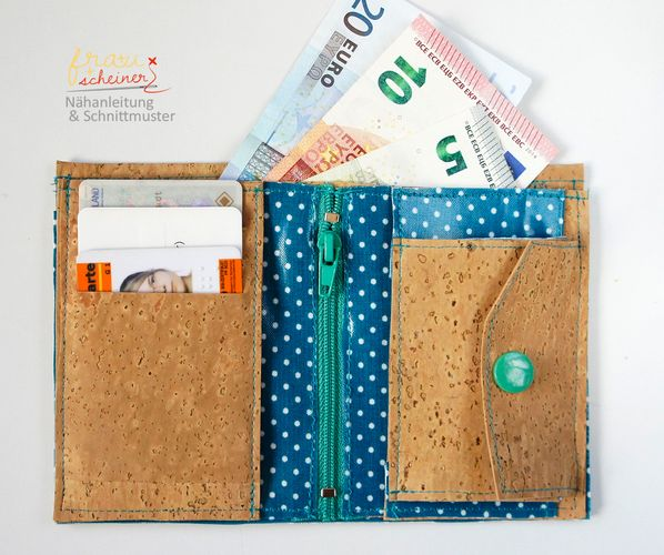 Schnittmuster Geldbeutel aus Korkstoff oder SnapPap von Frau Scheiner