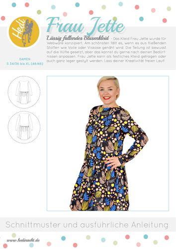 Produktfoto von Hedi zum Nähen für Schnittmuster Blusenkleid Frau Jette