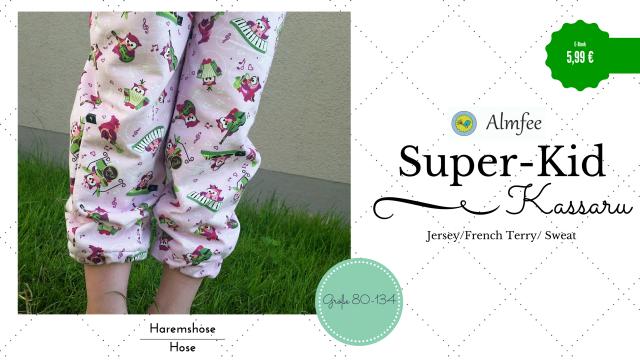 Produktfoto von Almfee zum Nähen für Schnittmuster Super-Kid Haremshose Kassaru