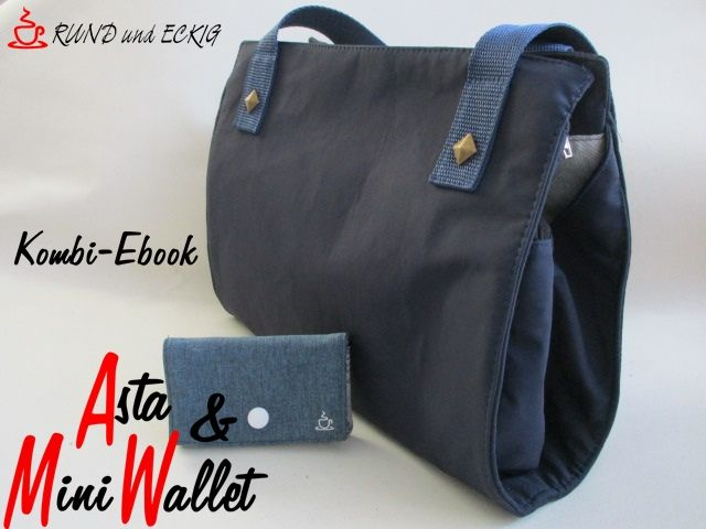 """Produktfoto 1 von RUND und ECKIG zum Nähen für Schnittmuster Kombi-Ebook Tasche """"Asta"""" & """"MiniWallet"""""""
