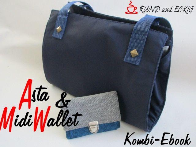 """Produktfoto 1 von RUND und ECKIG zum Nähen für Schnittmuster Kombi-Ebook Tasche """"Asta"""" & """"MidiWallet"""""""