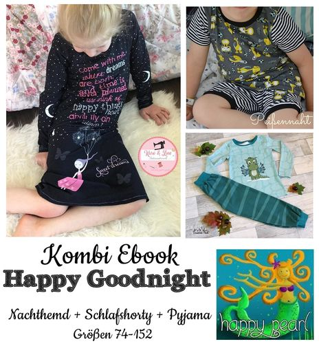 Produktfoto 1 von Happy Pearl zum Nähen für Schnittmuster  Happy Goodnight - Schlafshorty   Nachthemd   Pyjama