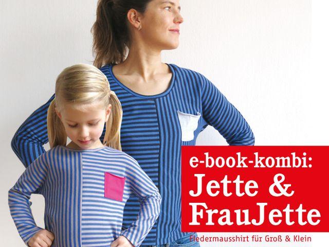 Produktfoto 1 von STUDIO SCHNITTREIF zum Nähen für Schnittmuster FRAU JETTE & JETTE Fledermausshirts im Partnerlook