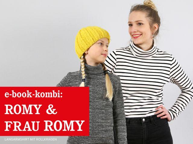 Produktfoto 1 von STUDIO SCHNITTREIF zum Nähen für Schnittmuster FRAU ROMY & ROMY Rollkragenshirts im Partnerlook
