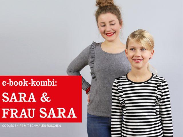 Produktfoto 1 von STUDIO SCHNITTREIF zum Nähen für Schnittmuster FRAU SARA & SARA Rüschenshirts im Partnerlook